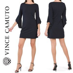 NWT VINCE CAMUTO Bell Sleeve Crepe Shift Dress